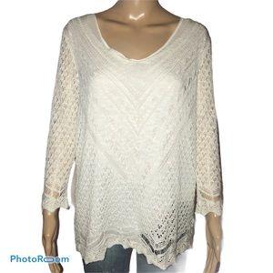 Westport open knit layered sweater